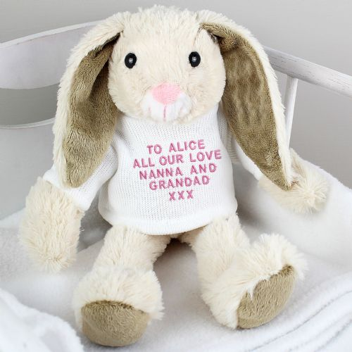 Personalised Easter Bunny Gift with Pink Embroidery Message